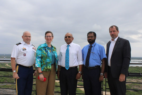From left, Senior Defense Officer/Defense Attaché, Lt. Colonel Douglas Hess, US Ambassador to Sri Lanka & Maldives, Ms. Alaina B. Teplitz, COO of Hambantota International Port Group (HIPG), Tissa Wickremasinghe, Rear Admiral Jayantha de Silva, HIPS and US Embassy Public Affairs Officer, David McGuire COO briefing the delegation through the Port's facilities Ambassador Teplitz in conversation with the COO on development plans for the port