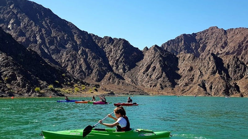 The reservoir at the Hatta Dam where kayaks and boats cruise in the Dubai emirate's exclave of Hatta.