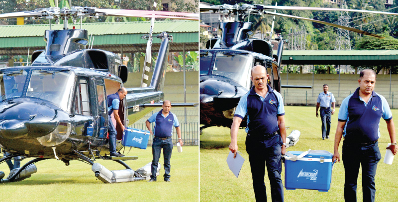 The SLAF transports a donor's liver to the Kandy General Hospital. Pictures by Ruwan Meegammana