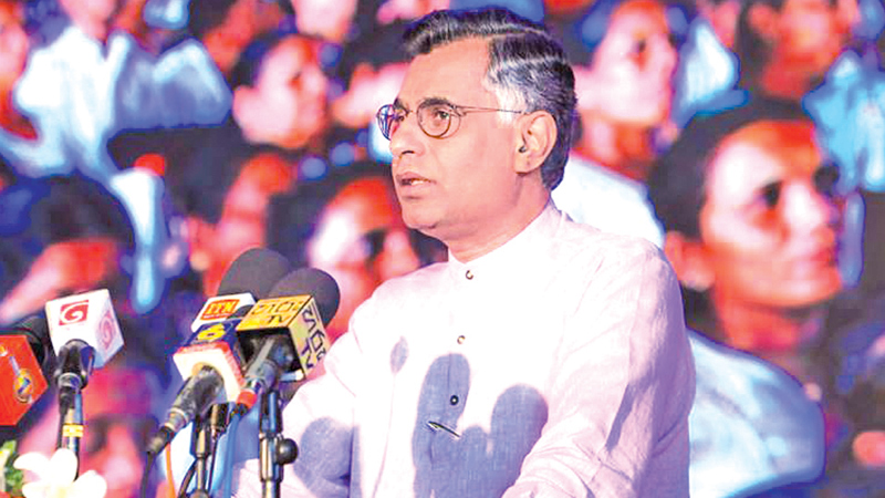 Minister Champika speaks at the ceremony.