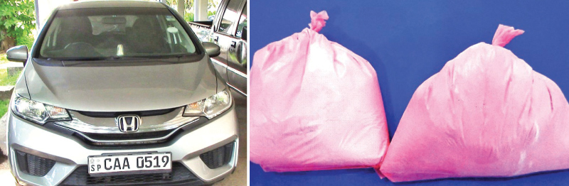 The car used to transport the heroin and the parcel of heroin in police custody.Pictures by Karandeniya group Anuradha Priyadarshana.
