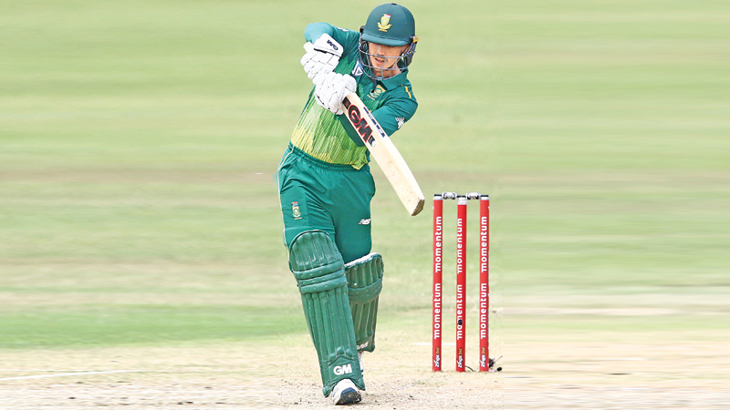 South Africa's Quinton de Kock plays a shot during the third one day international (ODI) cricket match against Sri Lanka at The Kingsmead Cricket Stadium in Durban on Sunday. AFP