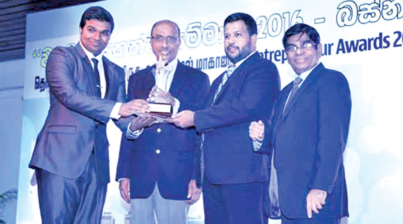 Randeniya Internatinal received the award for Best Entrepreneur 2016 in the Western Province recently. Company Director Nipun Randeniya receiving the award from Industry and Commerce Minister Rishad Bathiudeen at the Sri Lanka Foundation Institute.