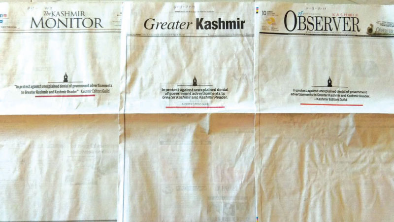 The blank front pages of newspapers in Jammu and Kashmir on Sunday.