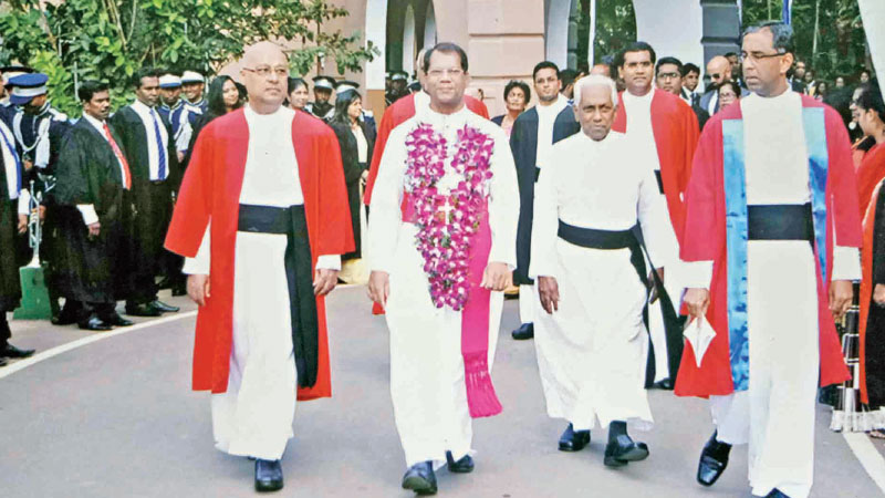 Chief guest, Rt. Rev. Dr. J.D. Anthony Jayakody, Auxiliary Bishop of Colombo is conducted to the SJC sports complex cum auditorium, by General Manager of Catholic Private Schools (Western Province), Rev. Fr. Ivan Perera, SJC Rector Rev. Fr. Travis Gabriel and Vice Rector Rev. Fr. Anton Ranjith. Picture by Joseph Pius, Wattala Special Corr.