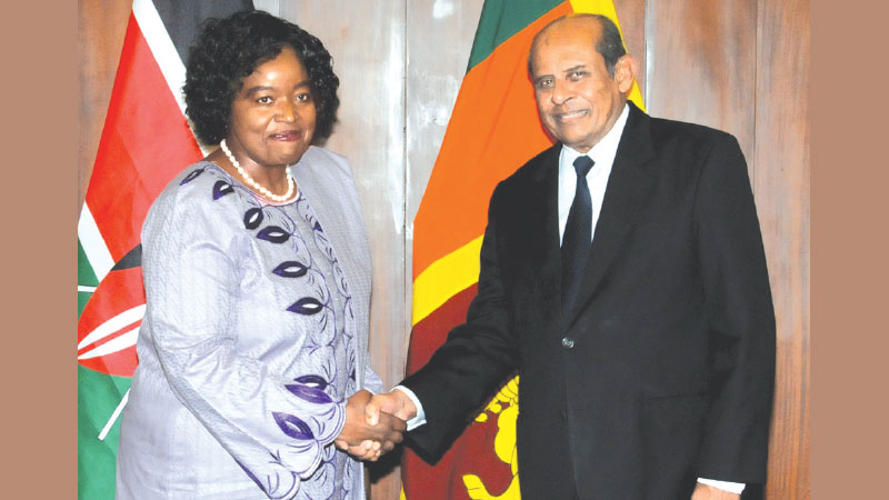 Foreign Minister Tilak Marapana and Kenyan Cabinet Secretary for Foreign Affairs Monica Juma, in Colombo, on Friday.