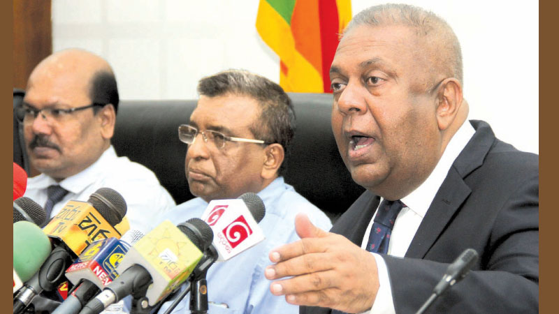 Finance Minister, Mangala Samaraweera addressing the media yesterday. Picture by Ruwan de Silva