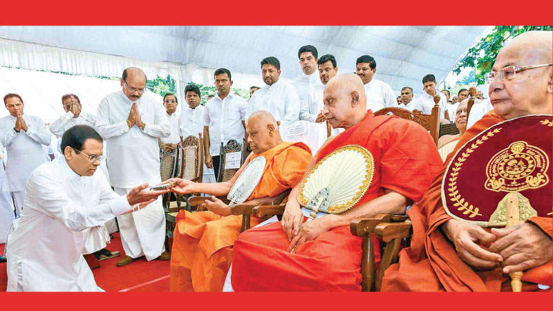 The proclamation of the Tripitaka as a National Heritage took place at a ceremony at the Aluviharaya in Matale under the patronage of President Maithripala Sirisena in January. Picture by Sudath Silva