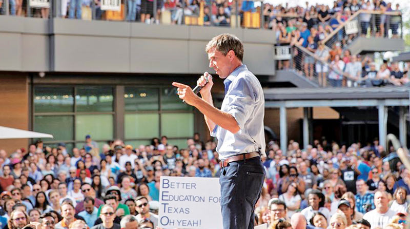 Former Democratic Senate nominee Beto O'Rourke speaking to supporters in Texas. - AFP