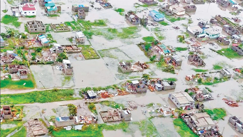 An aerial view of the damage caused by Tropical Cyclone Idai that hit Beira, Mozambique.