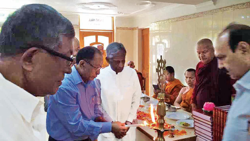 Sri Lankan High Commissioner Austin Fernando and other officials at Thripitaka Week celebrations in Bodh Gaya on March 16.