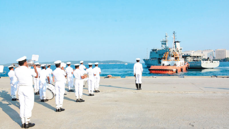 The Sri Lanka Navy bidding farewell to the departing Australian ships.