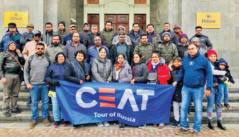 Some of the CEAT truck tyre dealers on their visit to Russia.