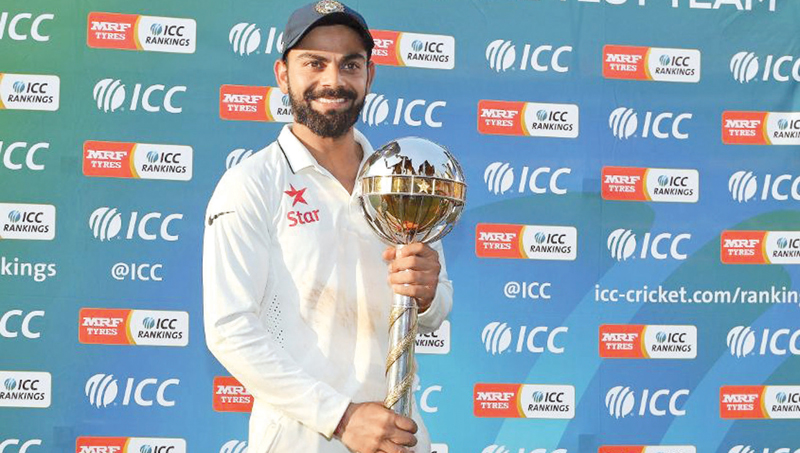 Indian captain Virat Kohli with the ICC Test Championship Mace.
