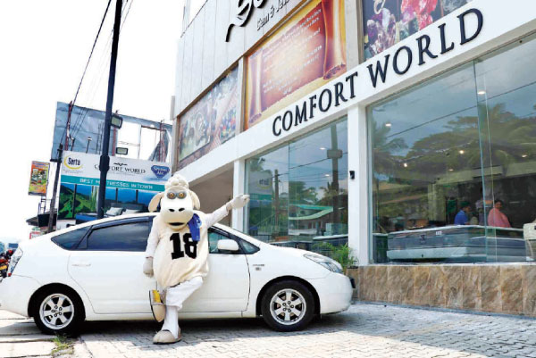 The new showroom in Kandy with the famous Sheep outside