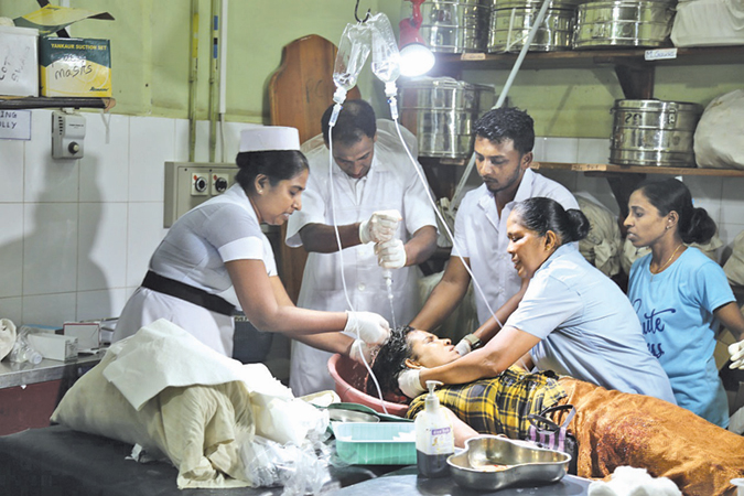 An injured person being treated in hospital.