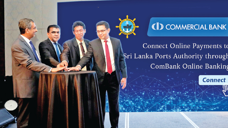 Commercial Bank's Chief Operating Officer Sanath Manatunge (extreme right) is joined by SLPA Additional Managing Director Upali De Zoysa and Director Operations  Jayantha Perera (second and third from left) and the Bank's Head of Digital Banking Pradeep Banduwansa (extreme left) at the ceremony to mark the addition of SLPA to Commercial Bank's online payments platform.