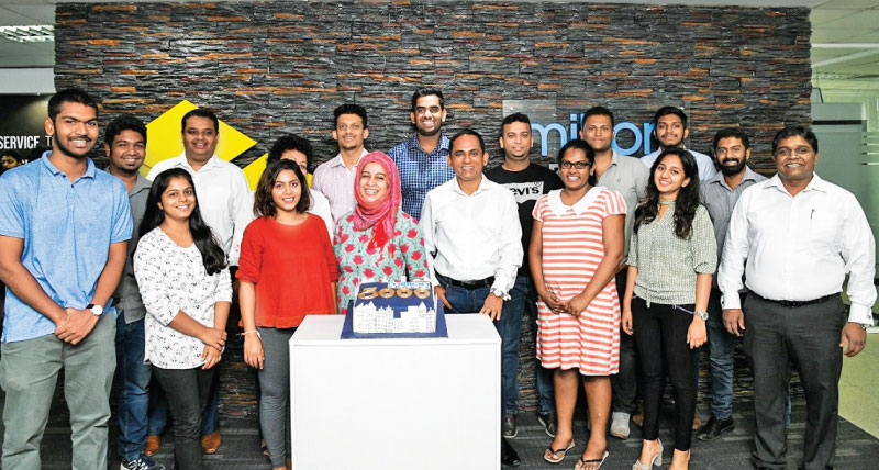 Chandana Ranasinghe - COO, Auxenta, Prasath Nanayakkara - CEO, MillionSpaces and Auxenta and Sanjeev Palihawadana - COO, MillionSpaces and the team celebrating the milestone of 5,000 bookings