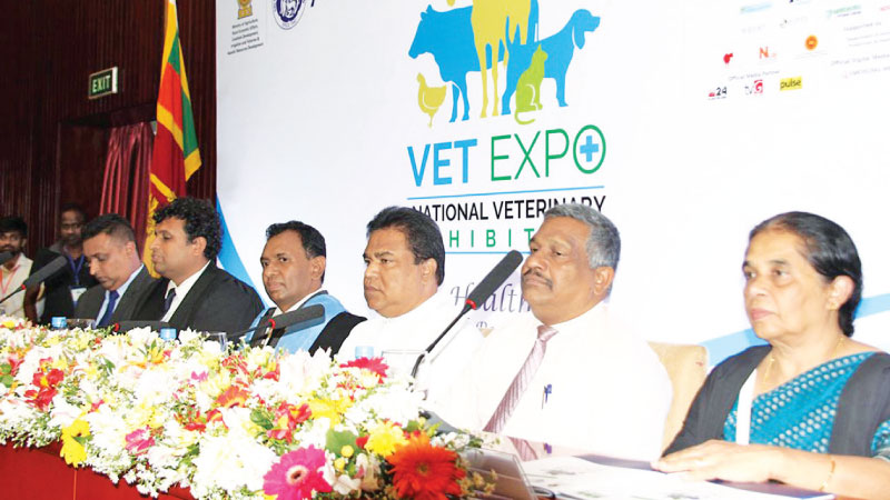 Agriculture and Livestock Development Minister P. Harrison, SLVA President Dr. Keerthi Gunasekara, and other SLVA officials, at the media conference in connection with 'VETEXPO 2019'.