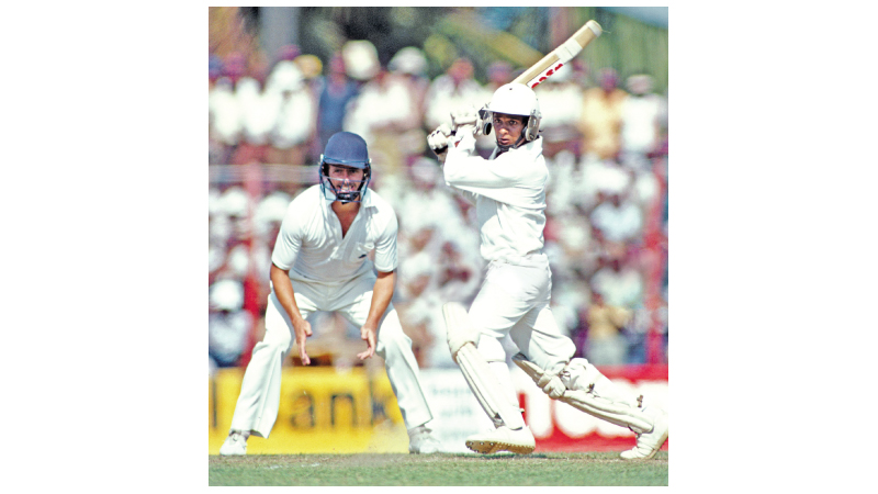 Arjuna Ranatunga was only 18 when he played for Sri Lanka in the inaugural Test match against England at the P Sara Oval in 1982. The short leg fielder is Geoff Cook.
