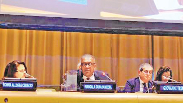 Finance Minister  Mangala Samaraweera addressing the UN Economic and Social Council (ECOSOC) Forum on Financing for Development (FfD) on Monday.