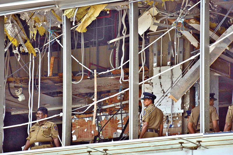 The Shangri-La Hotel after the Easter Sunday blast. Picture by Sudath Malaweera