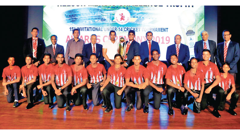 Champion CCC Maroons team with guests: Back row from left: Manoj Millawawithanarachchi (Coach), Sumith Thennakoon (Secretary CCC School of Cricket), Kuma Samarasinghe (Director-Singer Sri Lanka), Nelson Mendis (Chairman - CCC School of Cricket),Chaminda Vass (chief guest), Dinura Wanigasekara (CCC Meroons Captain) Eranjith Ranasinghe (George Stuward - Health Executive Director) Harsha Perieis (CEO-CCC School of Cricket), Dai Padmanadan (Vice President-CCC School of Cricket) Ravi Subasinghe (Vice President-C