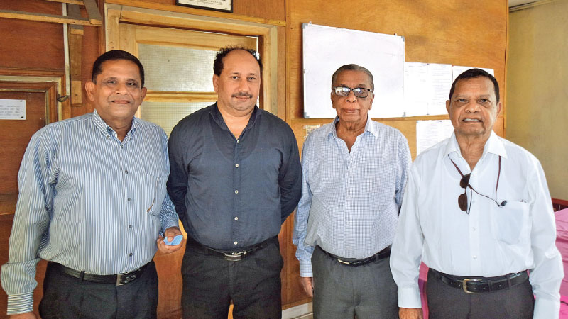 The officials selected for the years 2019/20, from left: Padmasiri Manamperi(Asst.Secretary) B.G.S.Nishantha (Treasurer) D.D.Palihakkara (President) and Walter Ranasinghe (General Secretary).