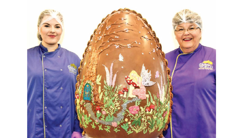 Chocolatiers Gail Deeley and Sian Patterson with their creation