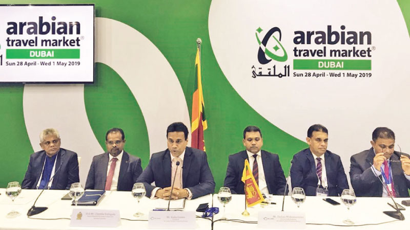 SLTPB Chairman, Kishu Gomes and other officials at  Sri Lanka Tourism Press Conference