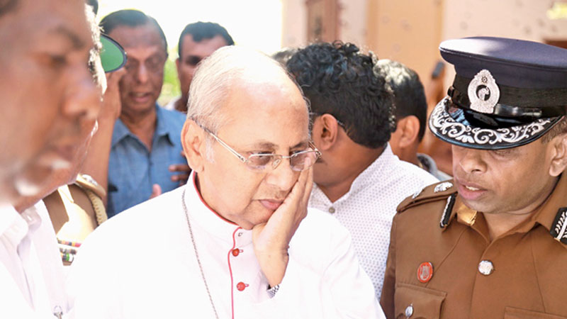 Colombo Archbishop Cardinal Malcolm Ranjith during his visit to St. Sebastian's Church, Katuwapitiya, soon after the bombing on Easter Sunday.