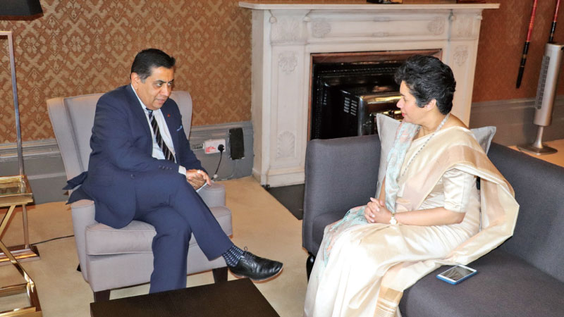 Minister of State for the Commonwealth and the UN at the Foreign & Commonwealth Office Lord Ahmad in conversation with  High Commissioner of Sri Lanka Manisha Gunasekera
