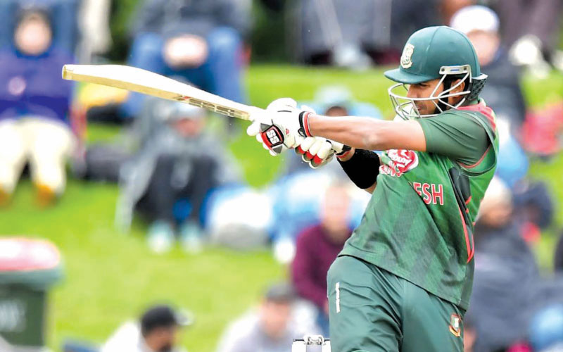 Bangladesh's Soumya Sarkar plays a shot during the Ireland  Tri-Nation Series' second one-day cricket match against West Indies at Dublin on Wednesday. AFP