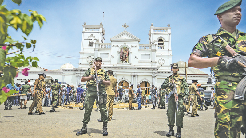 Security on high alert following the Easter Sunday church bombings.