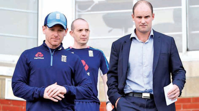 England one-day captain Eoin Morgan (left) and ECB director of cricket Andrew Strauss (right).