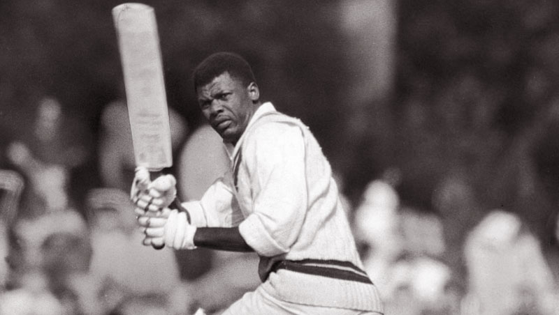 Seymour Nurse batting against the Duke of Norfolk's XI at Arundel Castle in 1966, on the tour of England that established his place in the West Indies team.