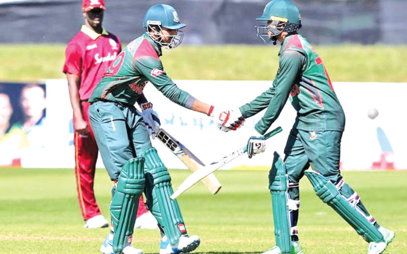 Bangladesh celebrate victory over West Indies.