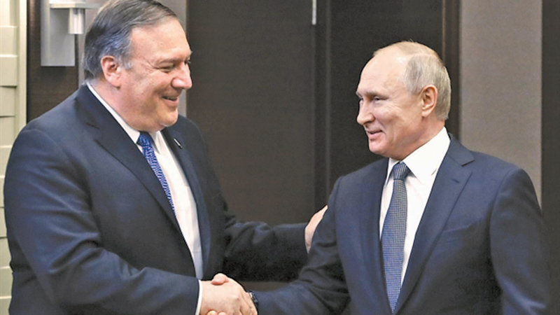 Russian President Vladimir Putin meets with US Secretary of State Mike Pompeo at the Bocharov Ruchei residence in Sochi on Tuesday.