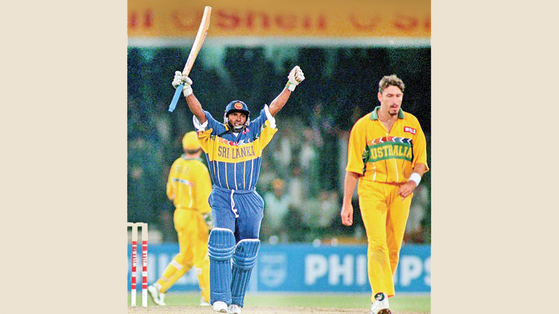 Great moment for Aravinda de Silva as he celebrates a hundred in a World Cup final