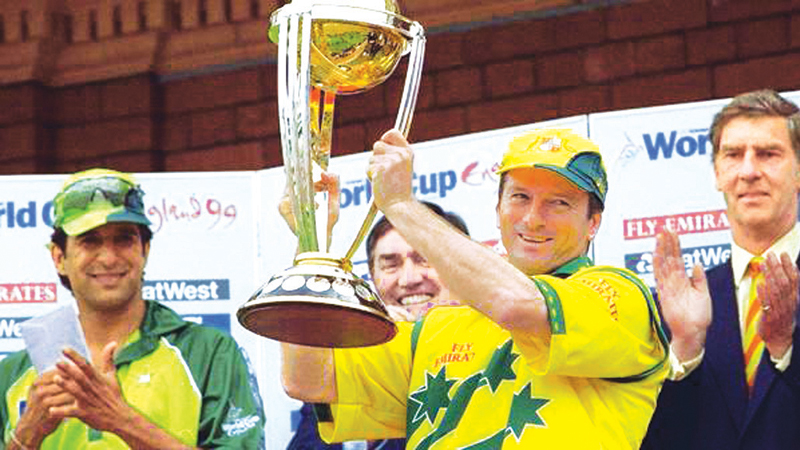 Australian captain Steve Waugh with the 1999 World Cup.