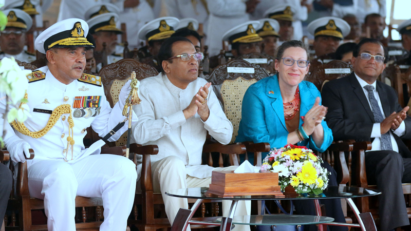 President Maithripala Sirisena is with the US Ambassador in Colombo Alaina B. Teplitz at the commissioning of  vessel as SLNS 'Gajabahu. avy Commander, Vice Admiral Piyal De Silva, and Mass Media Non-cabinet Minister Ruwan Wijewardene were present.   Pictures by Saman Sri Wedage