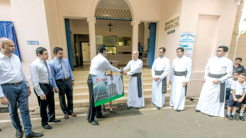 The 60kw solar electricity system was handed over to the College Rector Rev Father Travis Gabriel by Rohita Tilakaratna, President of the Wattala - Ja Ela branch of the School's Old Boy's Union (OBU). Also in the picture are Kushan Jayasuriya, Dhammika Perera and Rev. Father Sham Dassanayaka.