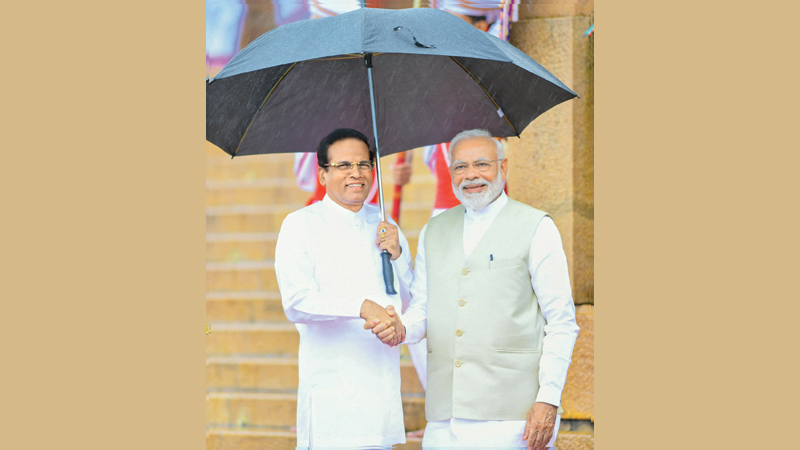 President Maithripala Siriesna and Indian Prime Minister Narendra Modi during the Indian PM's visit to Sri Lanka. Picture by Sudath Silva
