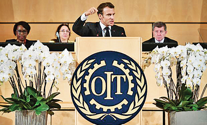 "French President Emmanuel Macron argued in his speech at the ILO that the world needed to return to a ""social market economy"" in which everyone shared."
