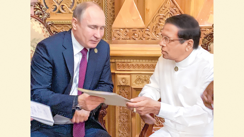 President Maithripala Sirisena who addressed the Fifth Summit of Heads of State of the Conference on Interaction and Confidence Building Measures in Asia (CICA) in Dushanbe, Tajikistan met Russian President Vladimir Putin on Saturday.  Picture by Sudath Silva
