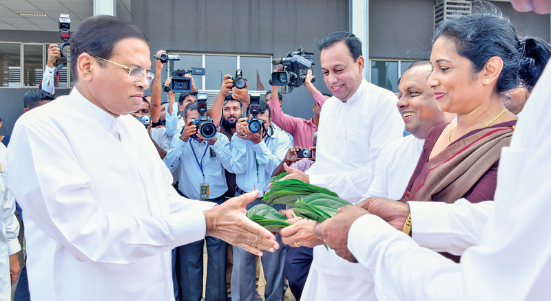 President Maithripala Sirisena is welcomed at the opening ceremony.