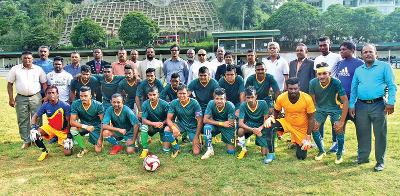 Champion Kandy Municipal Soccer team with the chief guest