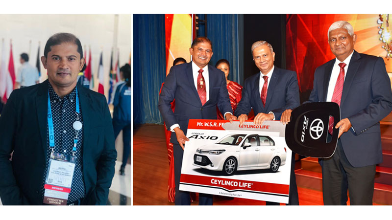 Sujith Fernando at the MDRT conference in Miami and (Right) receives a car at the Annual Awards of Ceylinco Life.