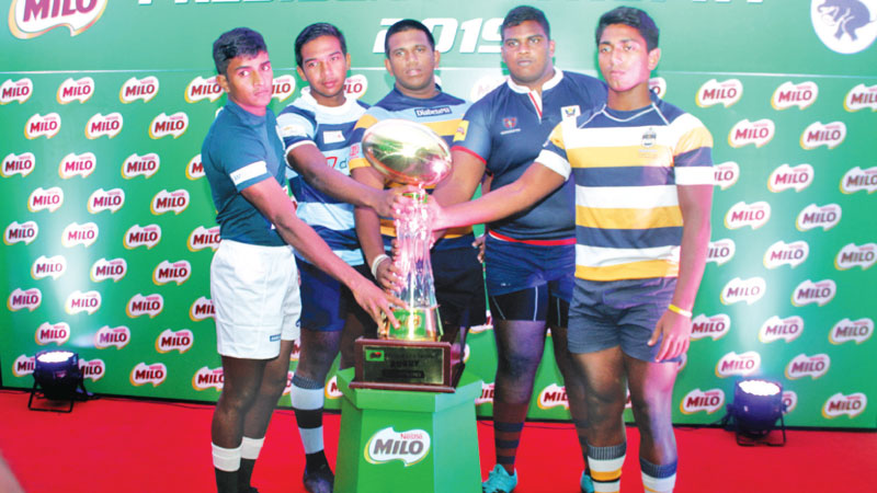 Team captains with the President's trophy. Picture by Saliya Rupasinghe