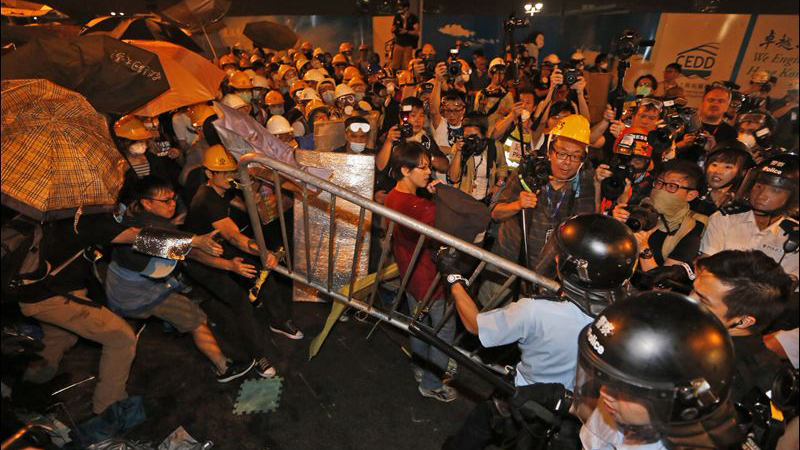 Protesters clashing with Police in Hong Kong.